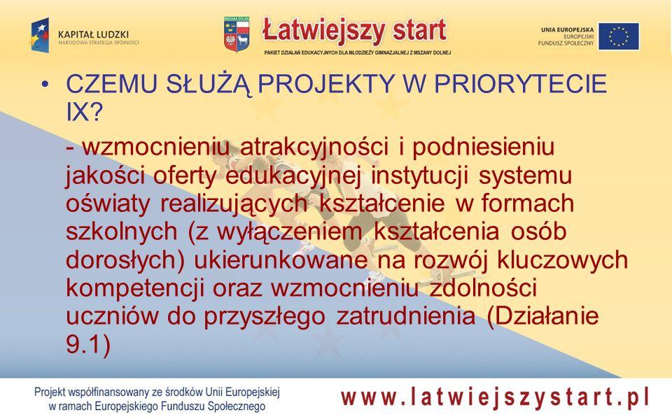 CZEMU SŁUŻĄ PROJEKTY W PRIORYTECIE IX? - wzmocnieniu atrakcyjności i podniesieniu jakości oferty edukacyjnej instytucji systemu oświaty realizujących