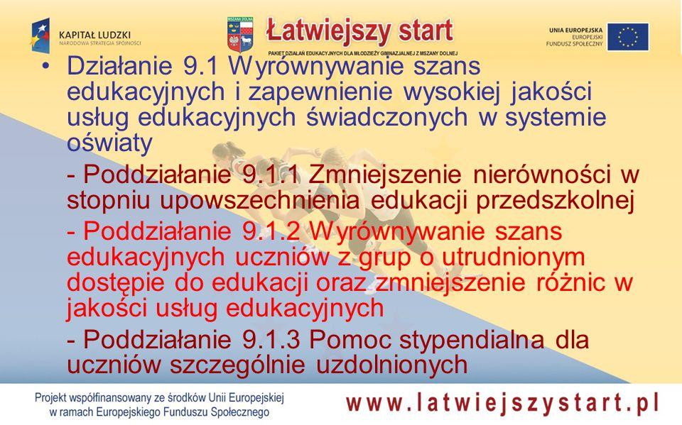 Działanie 9.1 Wyrównywanie szans edukacyjnych i zapewnienie wysokiej jakości usług edukacyjnych świadczonych w systemie oświaty - Poddziałanie 9.1.1 Z