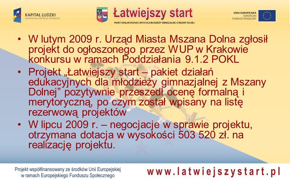 W lutym 2009 r. Urząd Miasta Mszana Dolna zgłosił projekt do ogłoszonego przez WUP w Krakowie konkursu w ramach Poddziałania 9.1.2 POKL Projekt Łatwie