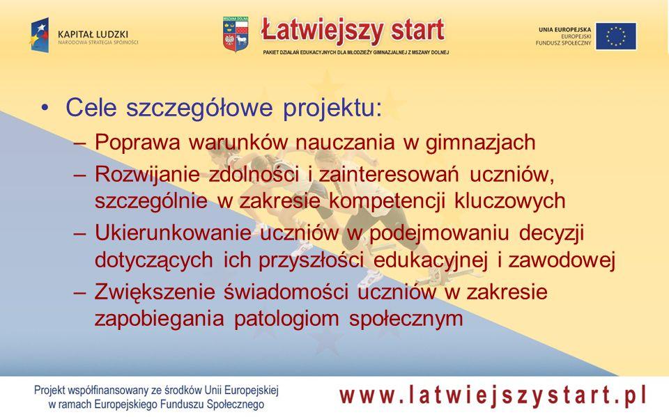 Cele szczegółowe projektu: –Poprawa warunków nauczania w gimnazjach –Rozwijanie zdolności i zainteresowań uczniów, szczególnie w zakresie kompetencji