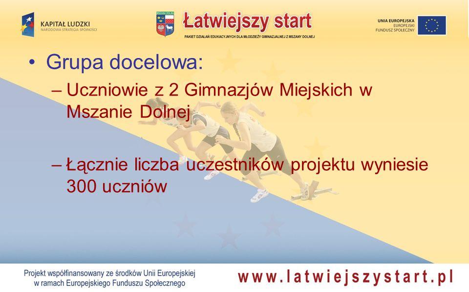 Grupa docelowa: –Uczniowie z 2 Gimnazjów Miejskich w Mszanie Dolnej –Łącznie liczba uczestników projektu wyniesie 300 uczniów