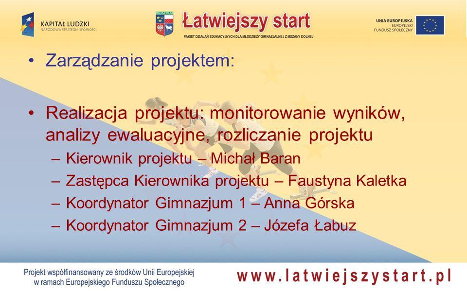 Zarządzanie projektem: Realizacja projektu: monitorowanie wyników, analizy ewaluacyjne, rozliczanie projektu –Kierownik projektu – Michał Baran –Zastę