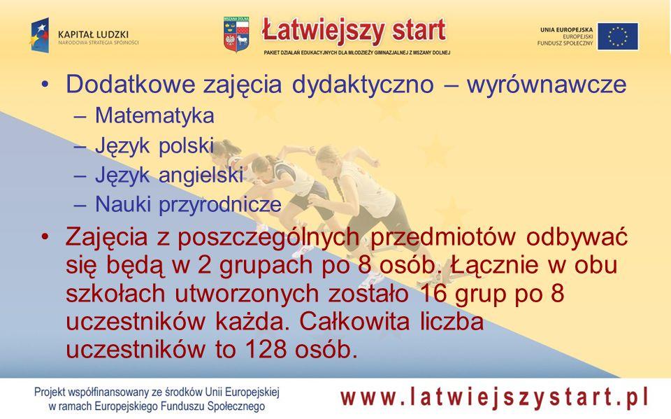 Dodatkowe zajęcia dydaktyczno – wyrównawcze –Matematyka –Język polski –Język angielski –Nauki przyrodnicze Zajęcia z poszczególnych przedmiotów odbywać się będą w 2 grupach po 8 osób.