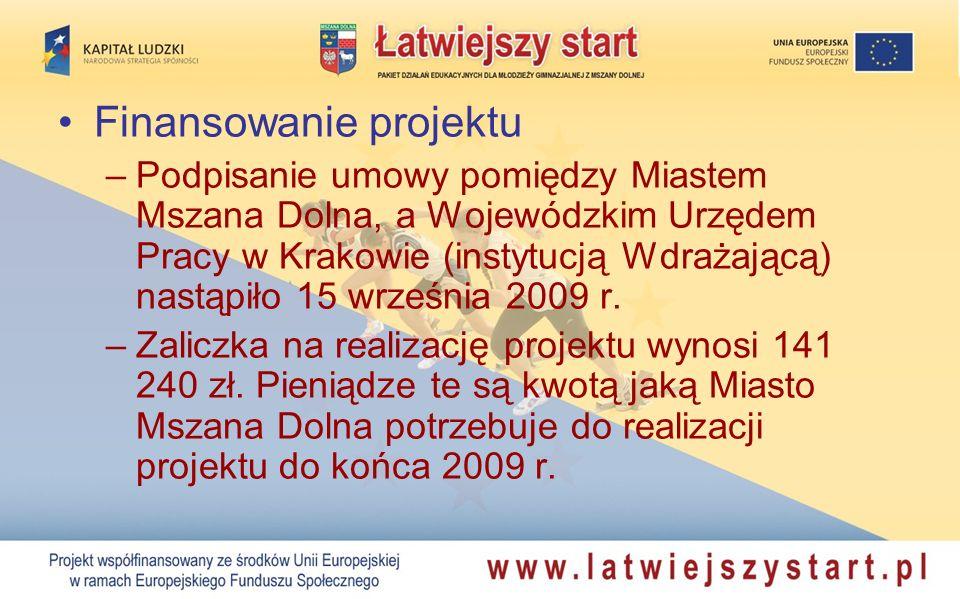 Finansowanie projektu –Podpisanie umowy pomiędzy Miastem Mszana Dolna, a Wojewódzkim Urzędem Pracy w Krakowie (instytucją Wdrażającą) nastąpiło 15 wrz