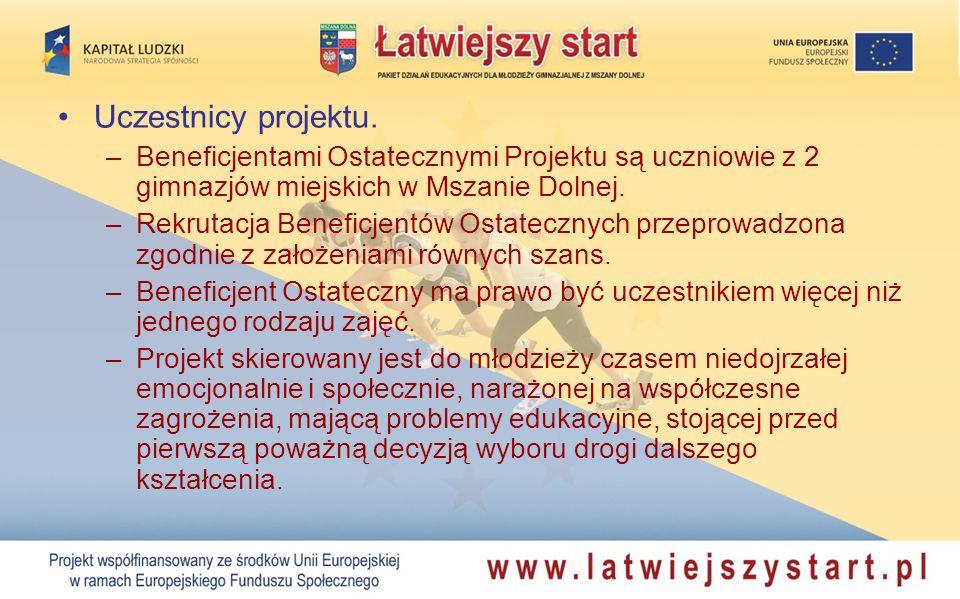 Uczestnicy projektu. –Beneficjentami Ostatecznymi Projektu są uczniowie z 2 gimnazjów miejskich w Mszanie Dolnej. –Rekrutacja Beneficjentów Ostateczny