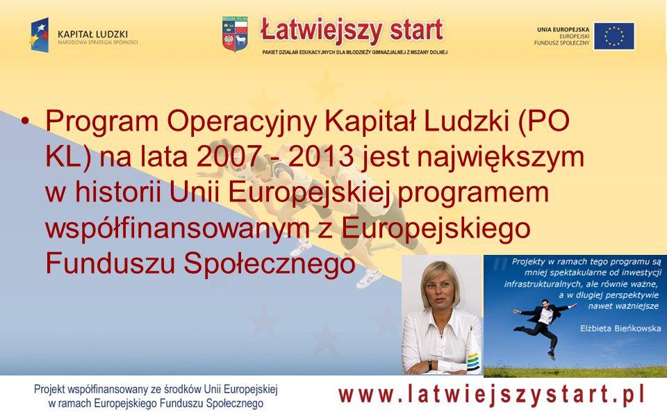Program Operacyjny Kapitał Ludzki (PO KL) na lata 2007 - 2013 jest największym w historii Unii Europejskiej programem współfinansowanym z Europejskieg