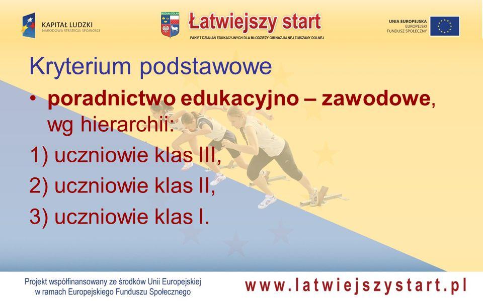Kryterium podstawowe poradnictwo edukacyjno – zawodowe, wg hierarchii: 1) uczniowie klas III, 2) uczniowie klas II, 3) uczniowie klas I.