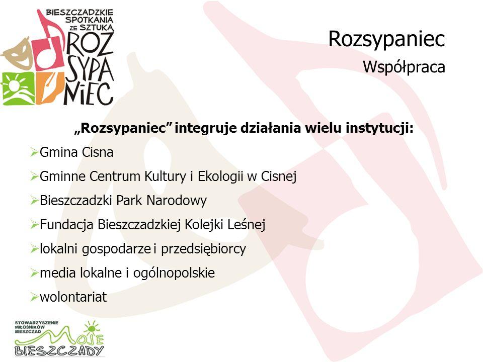 Rozsypaniec integruje działania wielu instytucji: Gmina Cisna Gminne Centrum Kultury i Ekologii w Cisnej Bieszczadzki Park Narodowy Fundacja Bieszczad