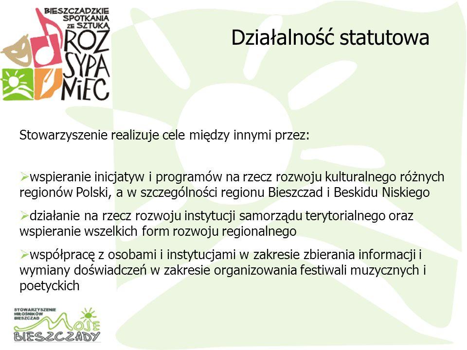 wspieranie inicjatyw i programów na rzecz rozwoju kulturalnego różnych regionów Polski, a w szczególności regionu Bieszczad i Beskidu Niskiego działan