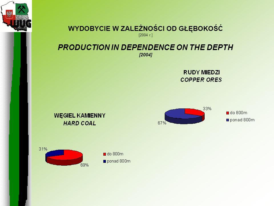 WYDOBYCIE W ZALEŻNOŚCI OD GŁĘBOKOŚĆ [2004 r.] PRODUCTION IN DEPENDENCE ON THE DEPTH [2004]