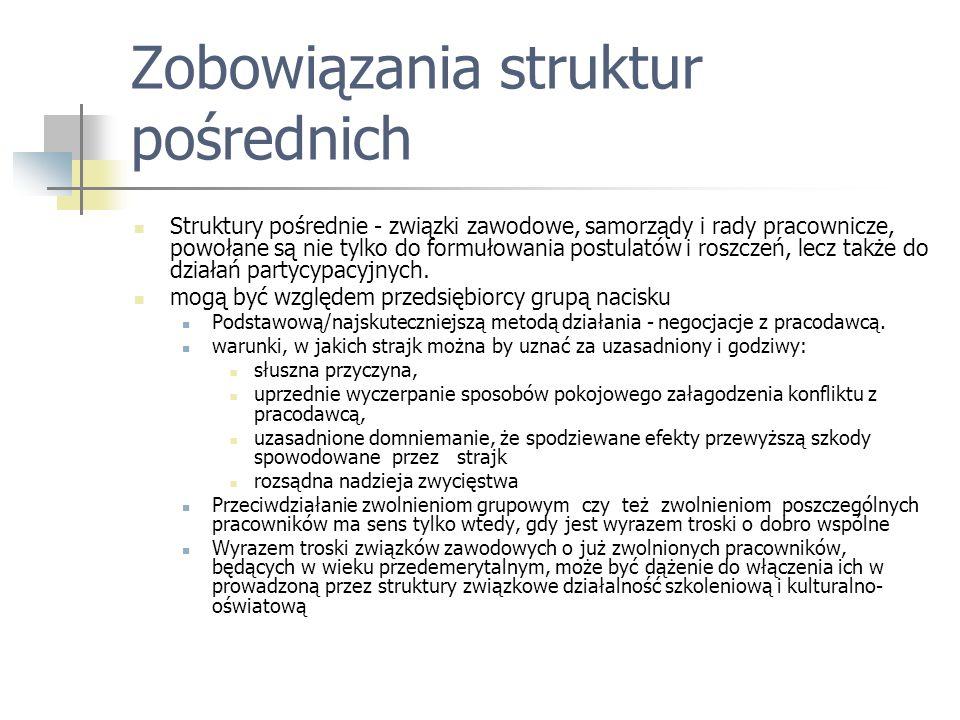 Zobowiązania struktur pośrednich Struktury pośrednie - związki zawodowe, samorządy i rady pracownicze, powołane są nie tylko do formułowania postulató