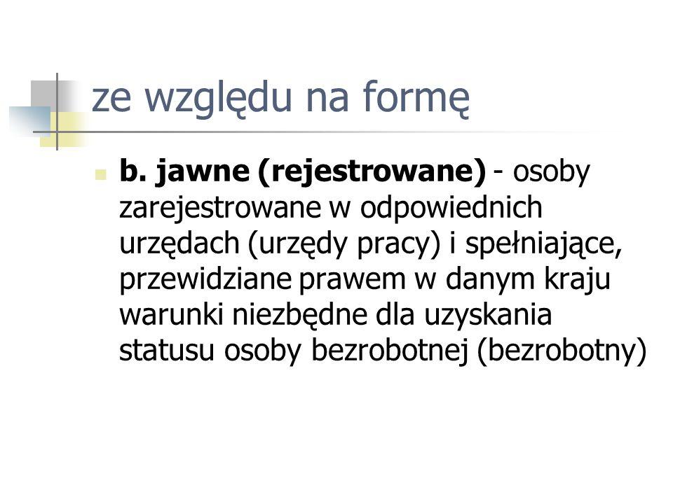 ze względu na formę b. jawne (rejestrowane) - osoby zarejestrowane w odpowiednich urzędach (urzędy pracy) i spełniające, przewidziane prawem w danym k