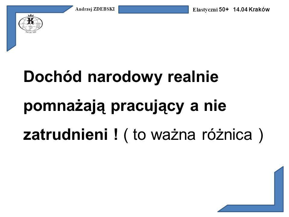 Andrzej ZDEBSKI Elastyczni 50+ 14.04 Kraków Dochód narodowy realnie pomnażają pracujący a nie zatrudnieni .