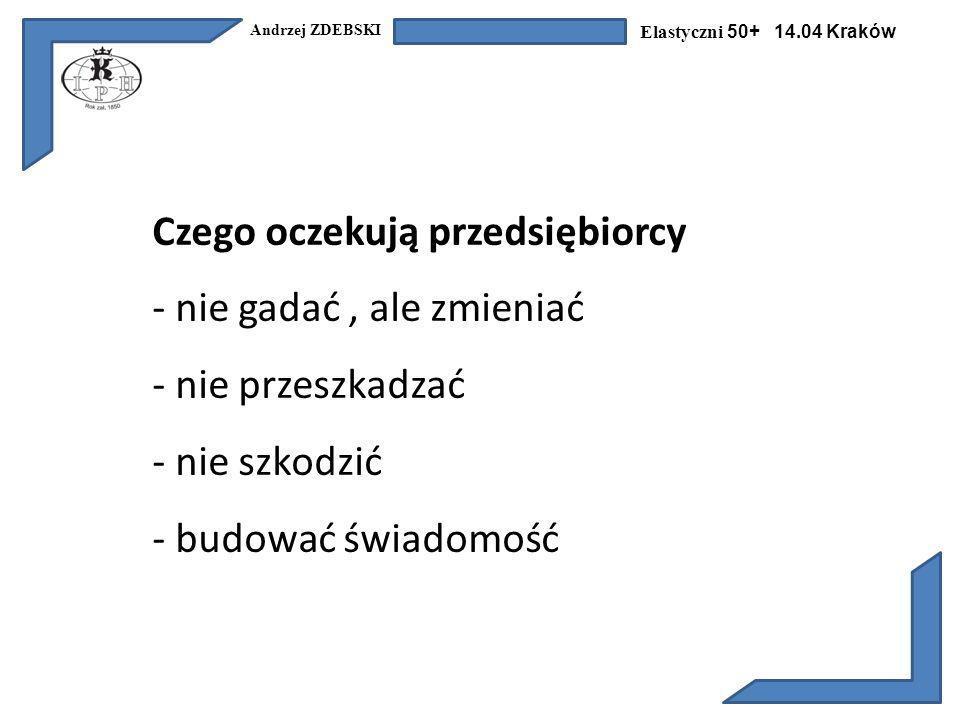 Andrzej ZDEBSKI Elastyczni 50+ 14.04 Kraków Czego oczekują przedsiębiorcy - nie gadać, ale zmieniać - nie przeszkadzać - nie szkodzić - budować świadomość