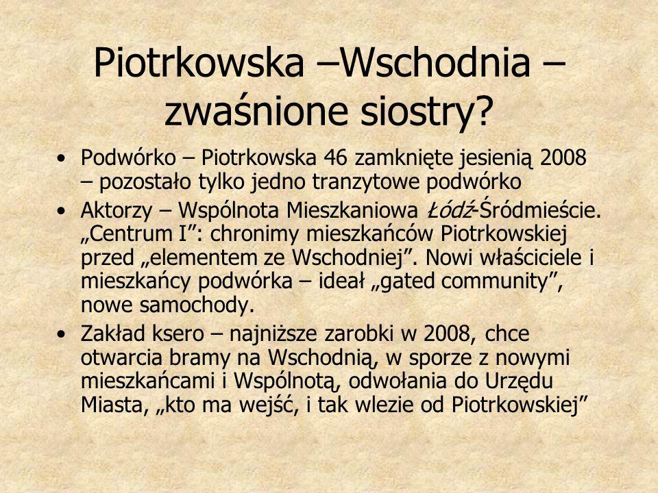 Piotrkowska –Wschodnia – zwaśnione siostry? Podwórko – Piotrkowska 46 zamknięte jesienią 2008 – pozostało tylko jedno tranzytowe podwórko Aktorzy – Ws