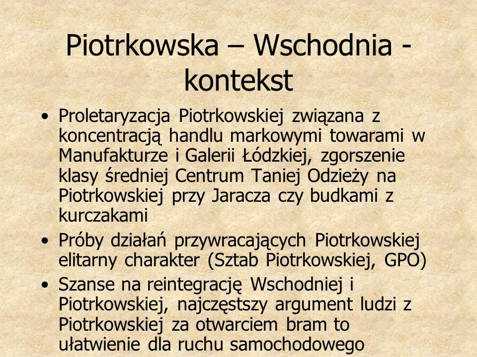 Piotrkowska – Wschodnia - kontekst Proletaryzacja Piotrkowskiej związana z koncentracją handlu markowymi towarami w Manufakturze i Galerii Łódzkiej, z