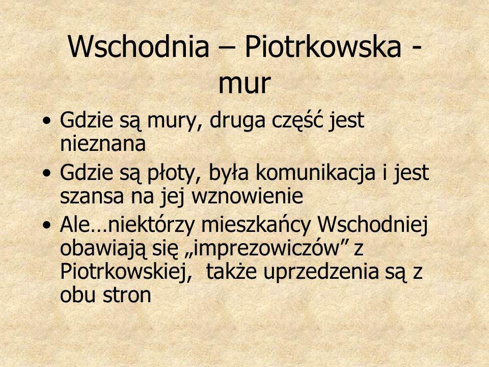 Wschodnia – Piotrkowska - mur Gdzie są mury, druga część jest nieznana Gdzie są płoty, była komunikacja i jest szansa na jej wznowienie Ale…niektórzy