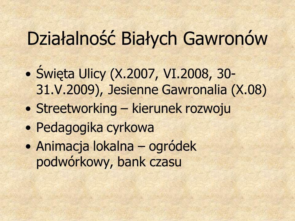 Działalność Białych Gawronów Święta Ulicy (X.2007, VI.2008, 30- 31.V.2009), Jesienne Gawronalia (X.08) Streetworking – kierunek rozwoju Pedagogika cyr