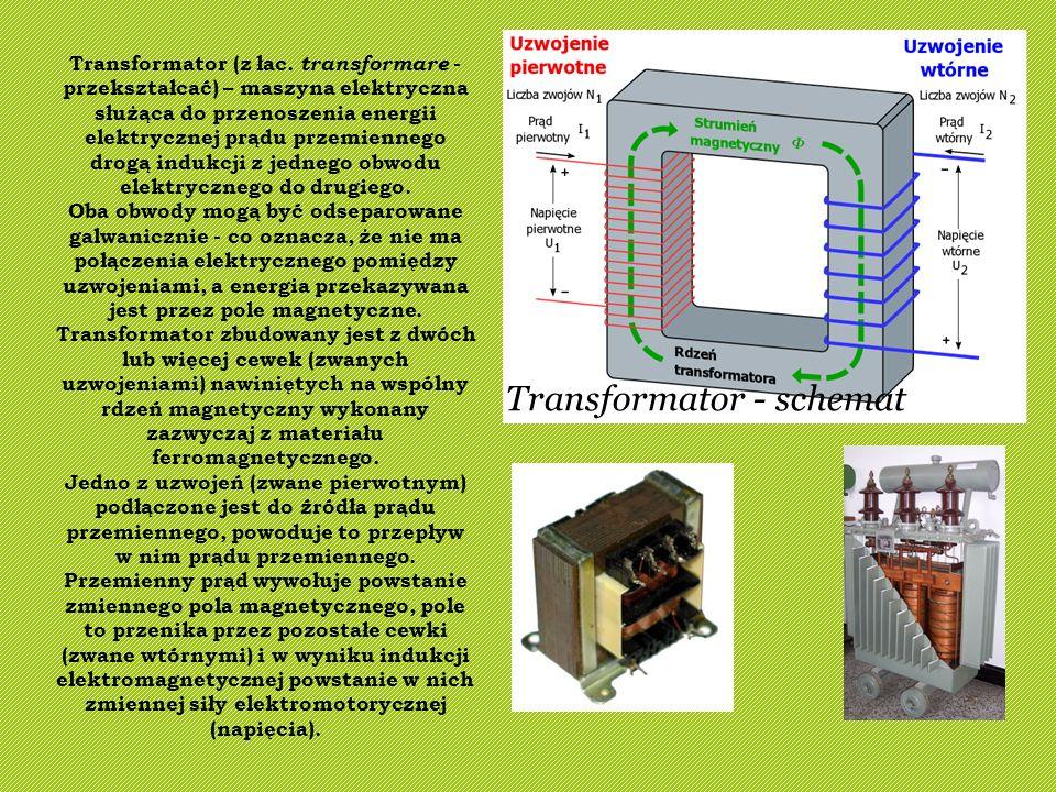 Transformator - schemat Transformator (z łac. transformare - przekształcać) – maszyna elektryczna służąca do przenoszenia energii elektrycznej prądu p