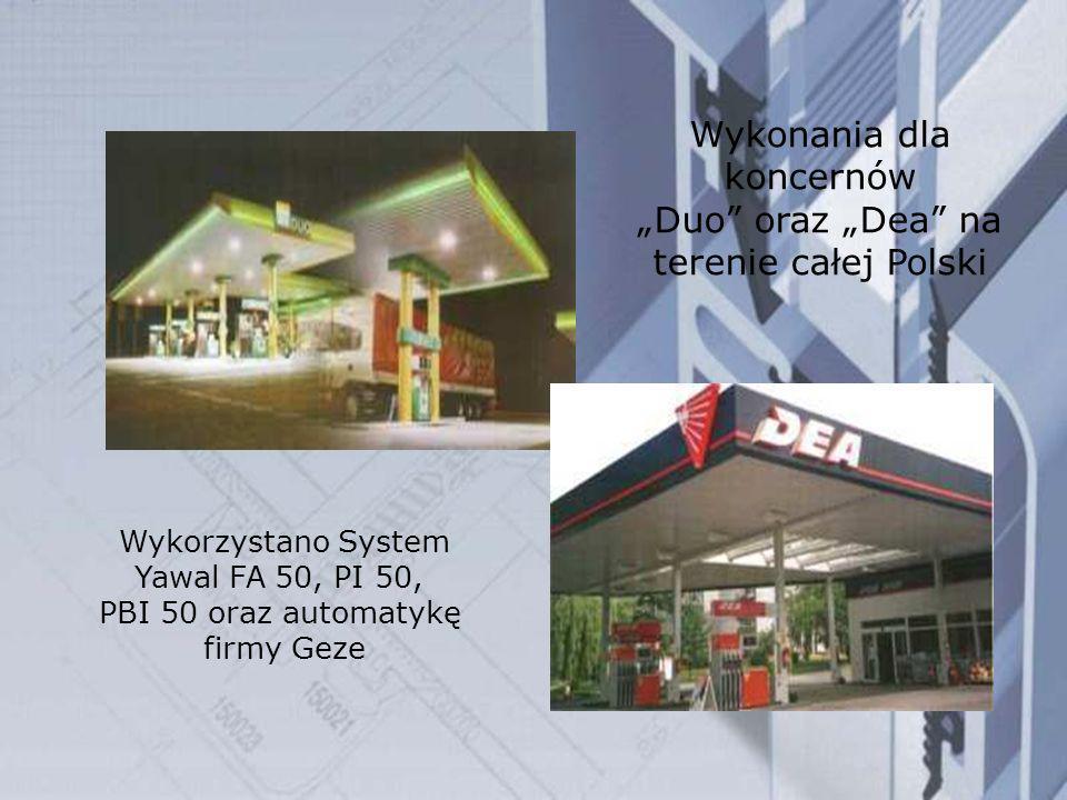 Wykorzystano System Yawal FA 50, PI 50, PBI 50 oraz automatykę firmy Geze Wykonania dla koncernów Duo oraz Dea na terenie całej Polski