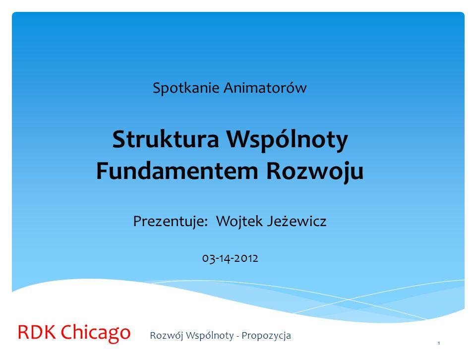 1 Spotkanie Animatorów Struktura Wspólnoty Fundamentem Rozwoju Prezentuje: Wojtek Jeżewicz 03-14-2012 RDK Chicago Rozwój Wspólnoty - Propozycja