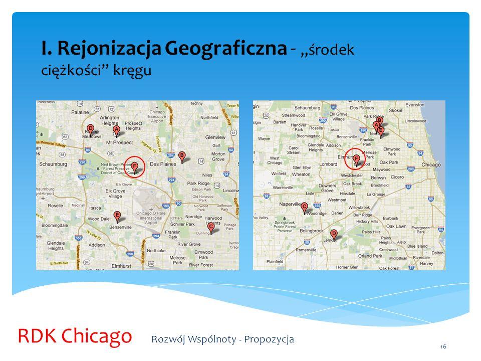 I. Rejonizacja Geograficzna - środek ciężkości kręgu 16 RDK Chicago Rozwój Wspólnoty - Propozycja