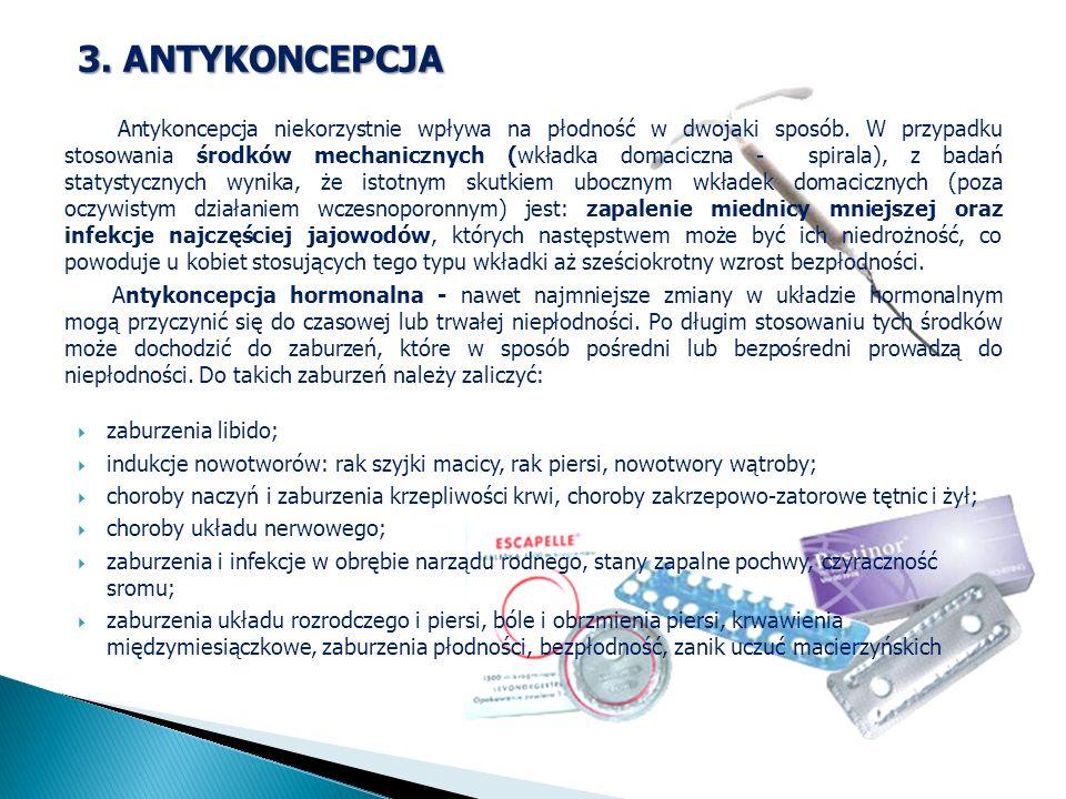 3. ANTYKONCEPCJA Antykoncepcja niekorzystnie wpływa na płodność w dwojaki sposób. W przypadku stosowania środków mechanicznych (wkładka domaciczna - s