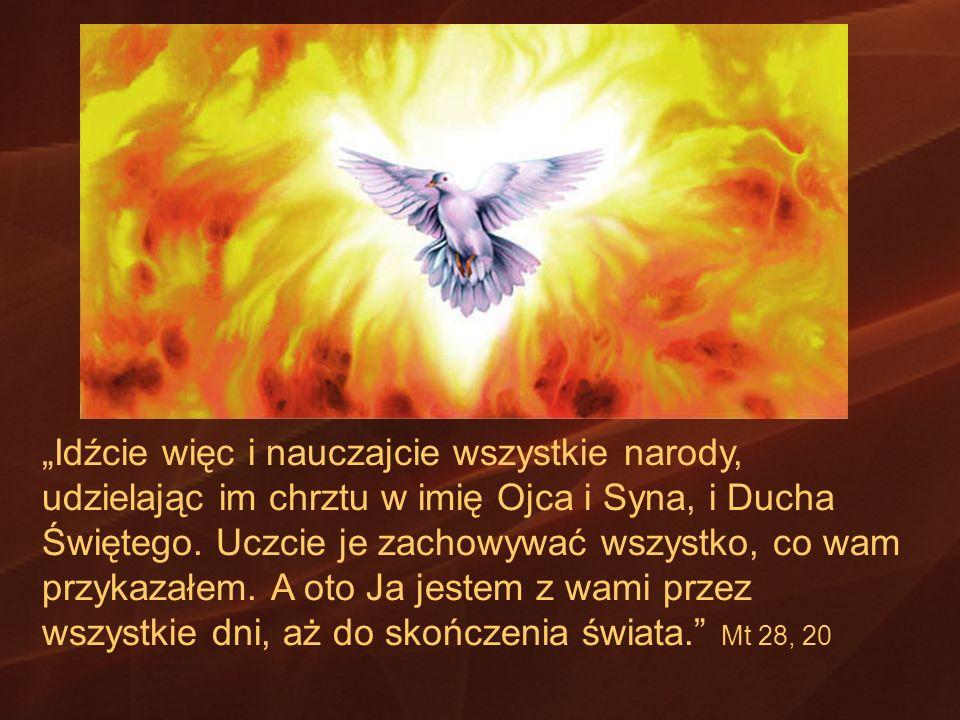 Idźcie więc i nauczajcie wszystkie narody, udzielając im chrztu w imię Ojca i Syna, i Ducha Świętego. Uczcie je zachowywać wszystko, co wam przykazałe