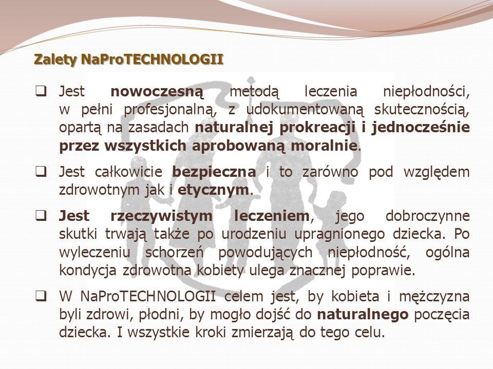 Zalety NaProTECHNOLOGII Jest nowoczesną metodą leczenia niepłodności, w pełni profesjonalną, z udokumentowaną skutecznością, opartą na zasadach natura