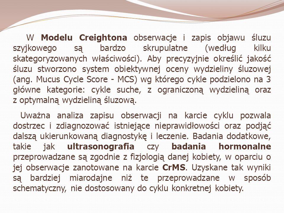 W Modelu Creightona obserwacje i zapis objawu śluzu szyjkowego są bardzo skrupulatne (według kilku skategoryzowanych właściwości). Aby precyzyjnie okr