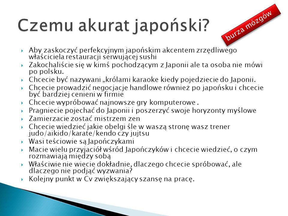 Aby zaskoczyć perfekcyjnym japońskim akcentem zrzędliwego właściciela restauracji serwującej sushi Zakochaliście się w kimś pochodzącym z Japonii ale ta osoba nie mówi po polsku.