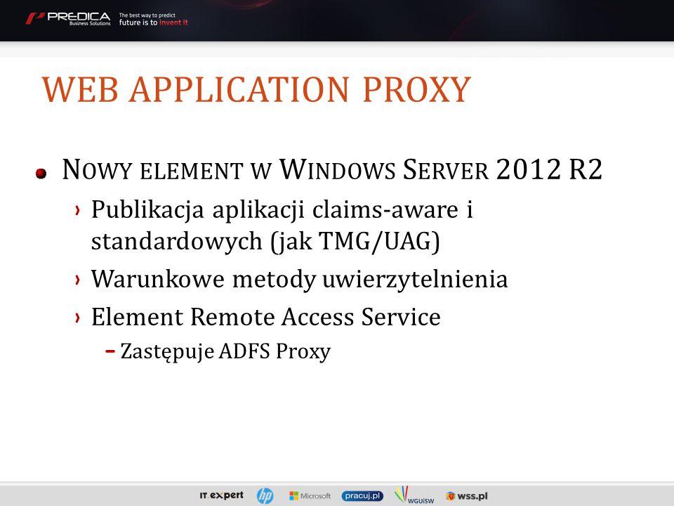 N OWY ELEMENT W W INDOWS S ERVER 2012 R2 Publikacja aplikacji claims-aware i standardowych (jak TMG/UAG) Warunkowe metody uwierzytelnienia Element Remote Access Service -Zastępuje ADFS Proxy WEB APPLICATION PROXY