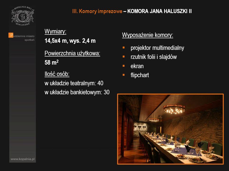 Wymiary: 14,5x4 m, wys. 2,4 m Powierzchnia użytkowa: 58 m 2 Ilość osób: w układzie teatralnym: 40 w układzie bankietowym: 30 Wyposażenie komory: proje