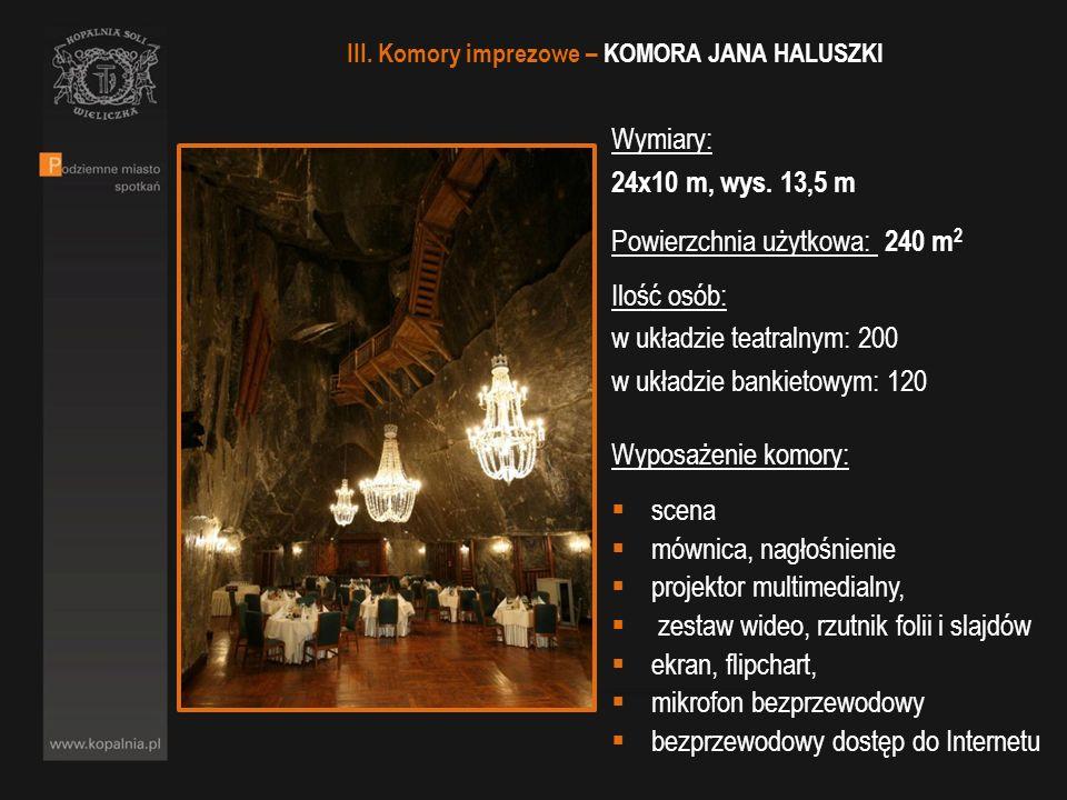 III. Komory imprezowe – KOMORA JANA HALUSZKI Wymiary: 24x10 m, wys. 13,5 m Powierzchnia użytkowa: 240 m 2 Ilość osób: w układzie teatralnym: 200 w ukł
