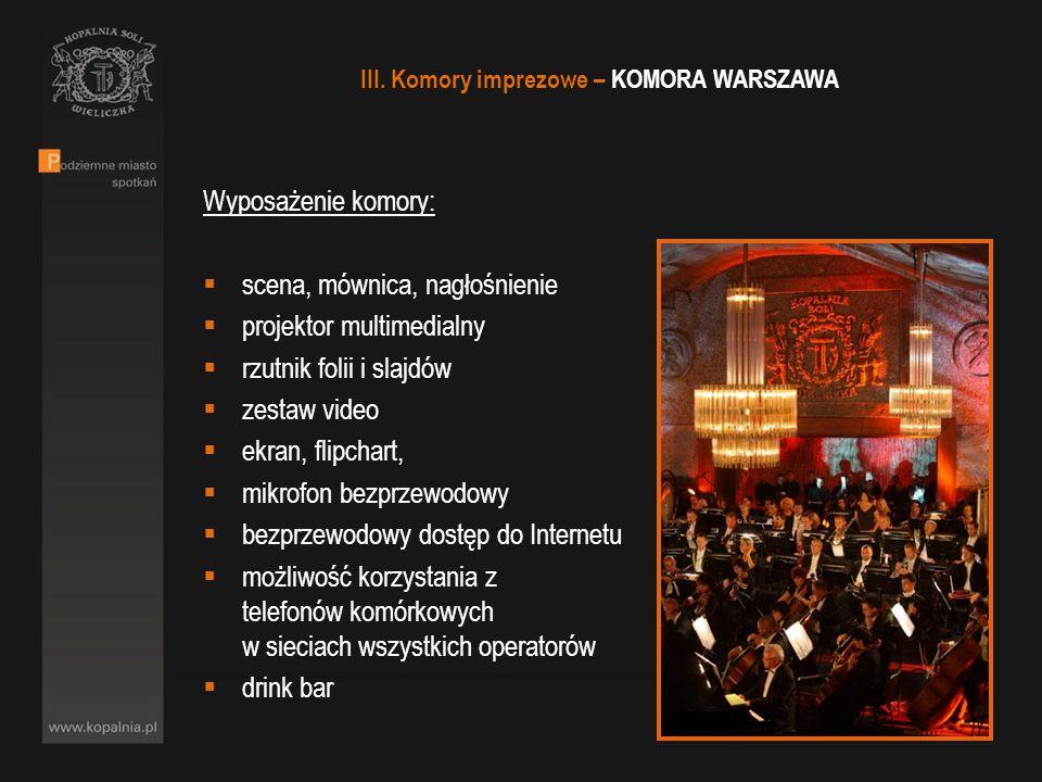 III. Komory imprezowe – KOMORA WARSZAWA Wyposażenie komory: scena, mównica, nagłośnienie projektor multimedialny rzutnik folii i slajdów zestaw video