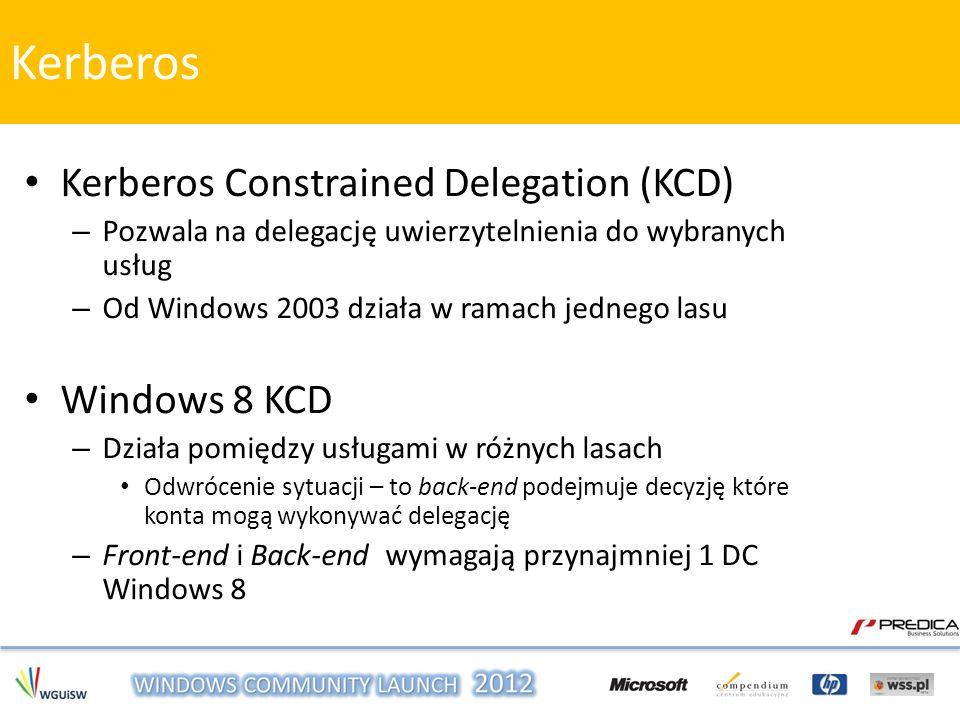 Kerberos Constrained Delegation (KCD) – Pozwala na delegację uwierzytelnienia do wybranych usług – Od Windows 2003 działa w ramach jednego lasu Window