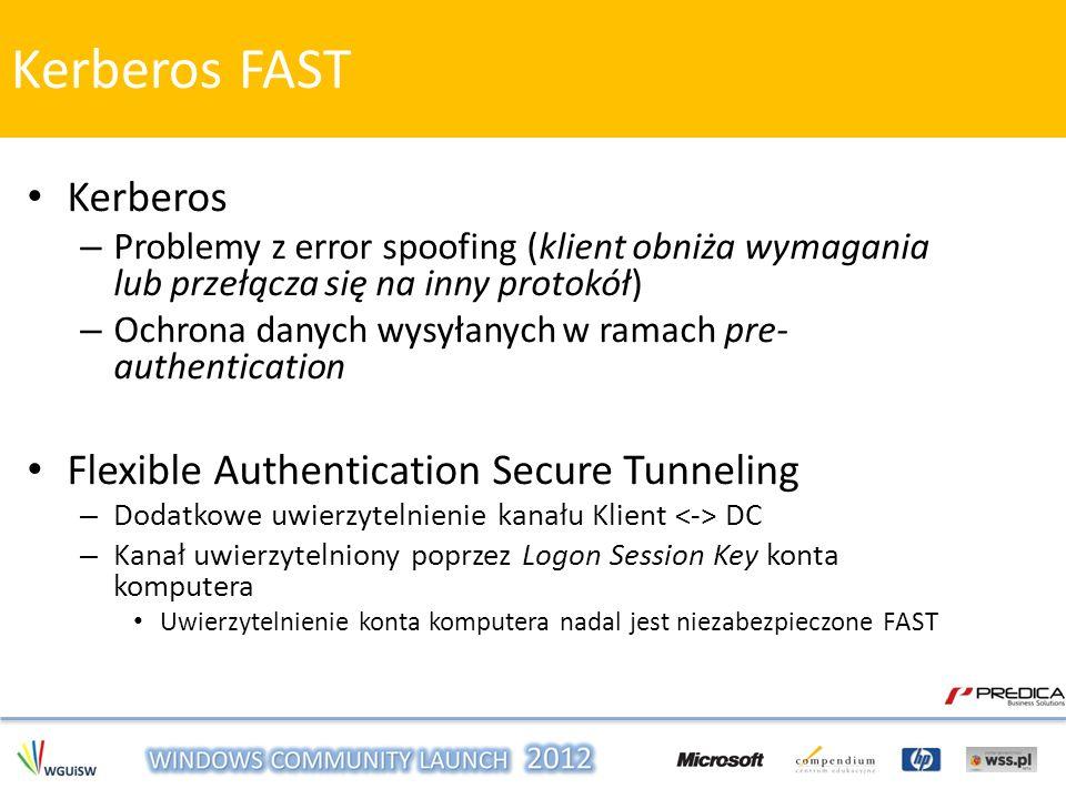 – Problemy z error spoofing (klient obniża wymagania lub przełącza się na inny protokół) – Ochrona danych wysyłanych w ramach pre- authentication Flex