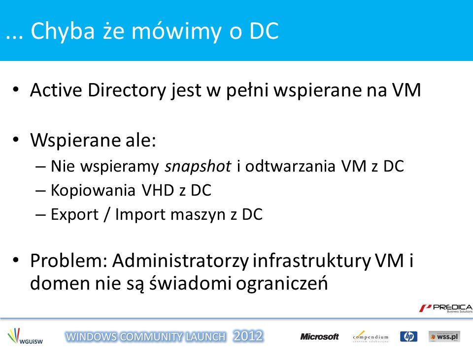 Active Directory jest w pełni wspierane na VM Wspierane ale: – Nie wspieramy snapshot i odtwarzania VM z DC – Kopiowania VHD z DC – Export / Import ma