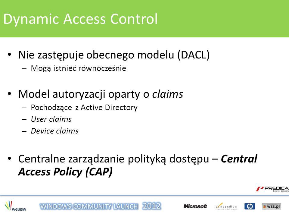 Nie zastępuje obecnego modelu (DACL) – Mogą istnieć równocześnie Model autoryzacji oparty o claims – Pochodzące z Active Directory – User claims – Dev
