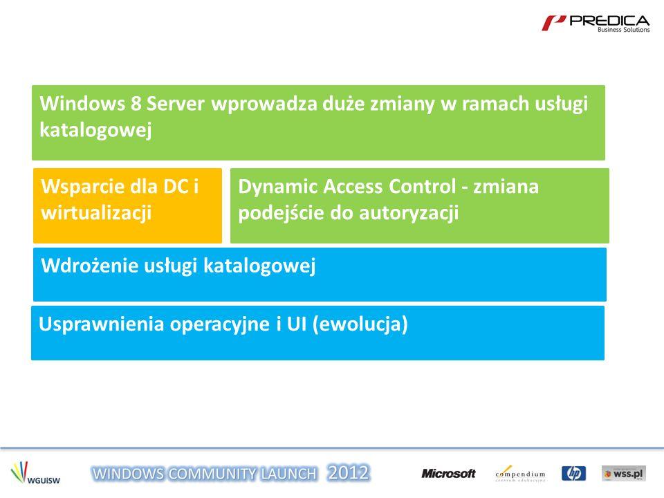 Windows 8 Server wprowadza duże zmiany w ramach usługi katalogowej Wsparcie dla DC i wirtualizacji Dynamic Access Control - zmiana podejście do autory