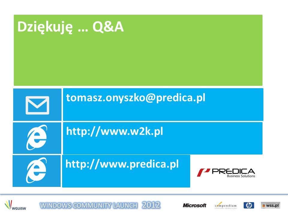 Dziękuję … Q&A tomasz.onyszko@predica.pl http://www.w2k.pl http://www.predica.pl