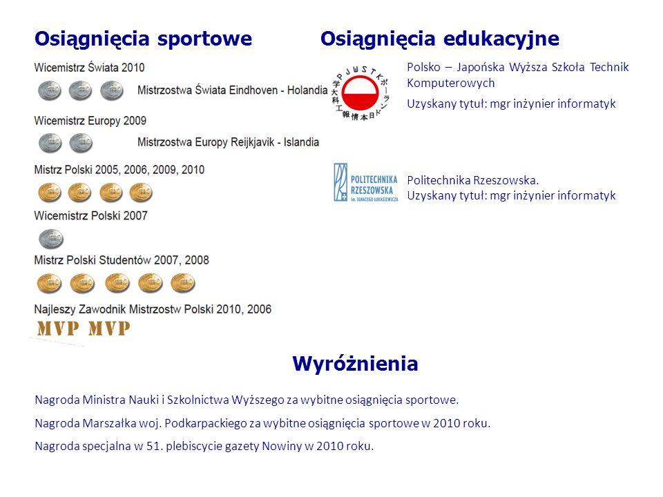 Osiągnięcia sportoweOsiągnięcia edukacyjne Polsko – Japońska Wyższa Szkoła Technik Komputerowych Uzyskany tytuł: mgr inżynier informatyk Politechnika