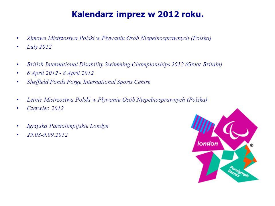 Kalendarz imprez w 2012 roku. Zimowe Mistrzostwa Polski w Pływaniu Osób Niepełnosprawnych (Polska) Luty 2012 British International Disability Swimming