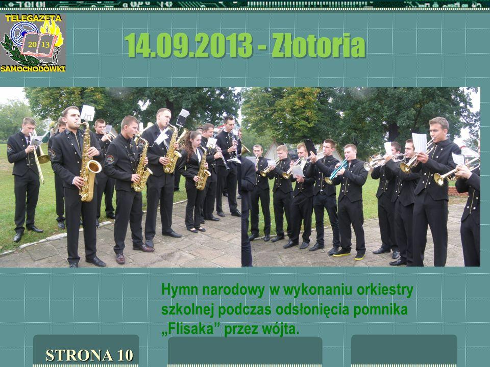 14.09.2013 - Złotoria Hymn narodowy w wykonaniu orkiestry szkolnej podczas odsłonięcia pomnika Flisaka przez wójta. STRONA 10