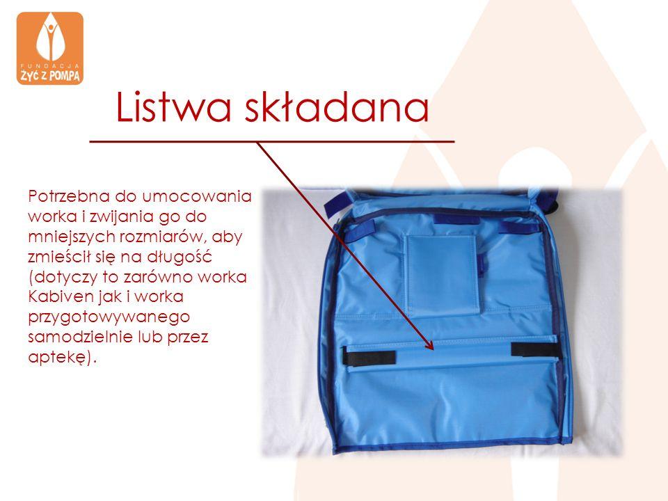 Listwa składana Potrzebna do umocowania worka i zwijania go do mniejszych rozmiarów, aby zmieścił się na długość (dotyczy to zarówno worka Kabiven jak