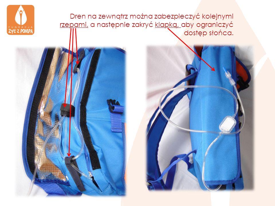 Dren na zewnątrz można zabezpieczyć kolejnymi rzepami, a następnie zakryć klapką, aby ograniczyć dostęp słońca.