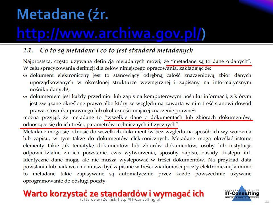 Warto korzystać ze standardów i wymagać ich 11 (c) Jarosław Żeliński http://IT-Consulting.pl/