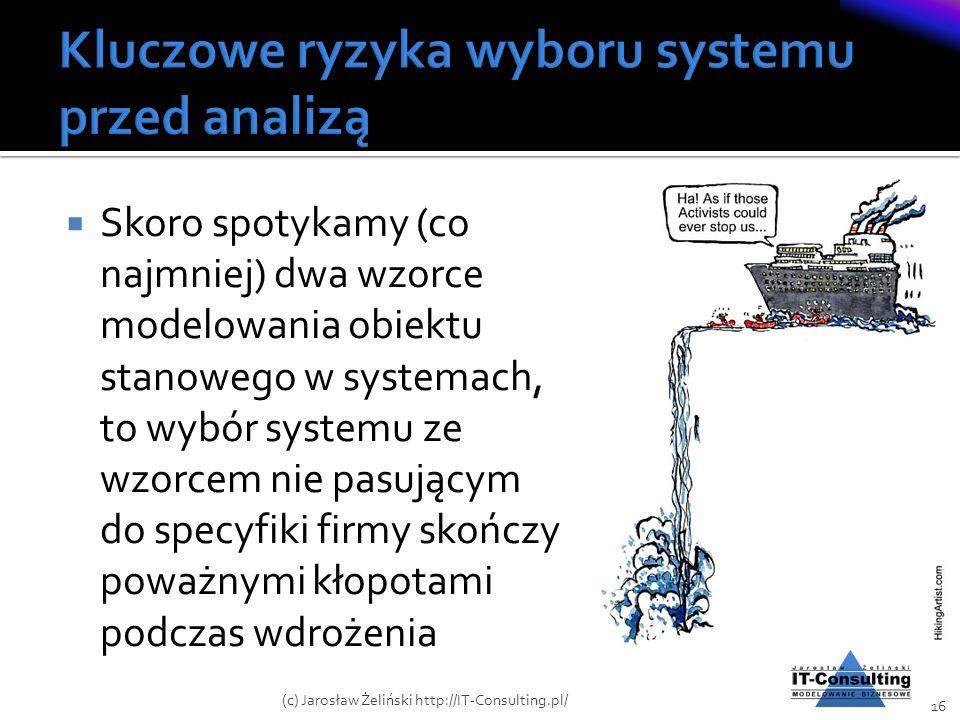 Skoro spotykamy (co najmniej) dwa wzorce modelowania obiektu stanowego w systemach, to wybór systemu ze wzorcem nie pasującym do specyfiki firmy skońc