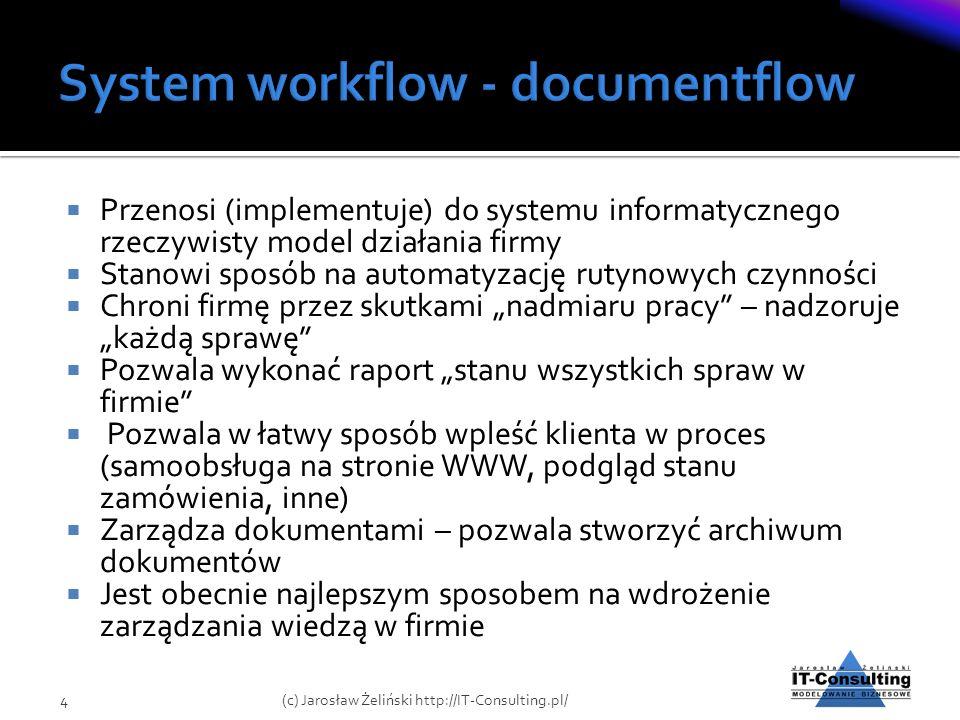 Przenosi (implementuje) do systemu informatycznego rzeczywisty model działania firmy Stanowi sposób na automatyzację rutynowych czynności Chroni firmę