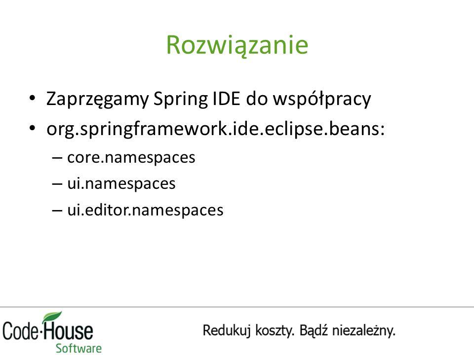 Rozwiązanie Zaprzęgamy Spring IDE do współpracy org.springframework.ide.eclipse.beans: – core.namespaces – ui.namespaces – ui.editor.namespaces